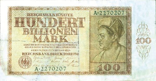 Banknot o nominale 100 bilionów marek.