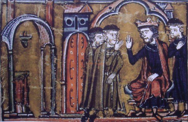 XIII-wieczne przedstawienie przekazania przez Baldwina II Świątynia Salomona templariuszom.
