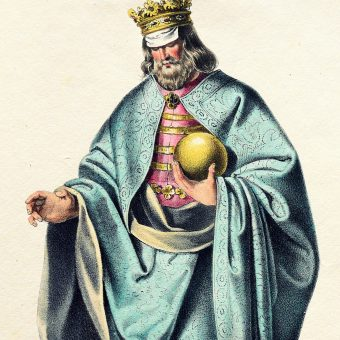 Litografia przedstawiająca Bélę II Ślepego.