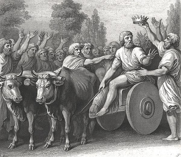 Legenda o postrzyżynach Siemowita jest częścią mitu założycielskiego dynastii Piastów. Na ilustracji elekcja Piasta na księcia.