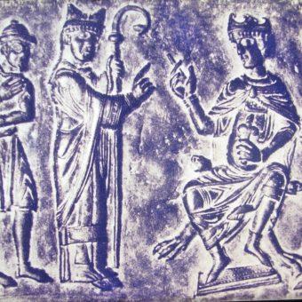 Fragment płaskorzeźby ukazującej przedstawienie żydowskiego handlarza niewolników Bolesławowi, znajdujący się w Muzeum Diaspory w Tel Awiwie (fot. Sodabottle, CCA SA 3.0)