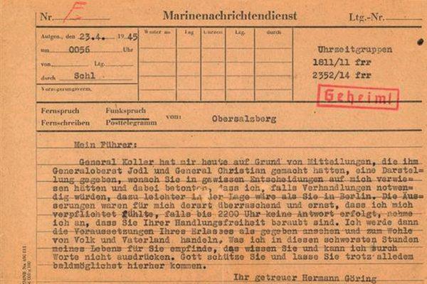 Telegram, który doprowadził do upadku Göringa.