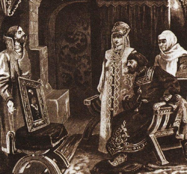 Iwan III zgodził się na małżeństwo z Zofią Paleolog, by wejść do grona spadkobierców bizantyjskiego imperium. Na ilustracji prezentacja portretu przyszłej małżonki.