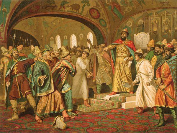 Iwanowi III udało się między innymi zrzucić zależność od chana mongolskiego. Na obrazie książę drze list od chana.