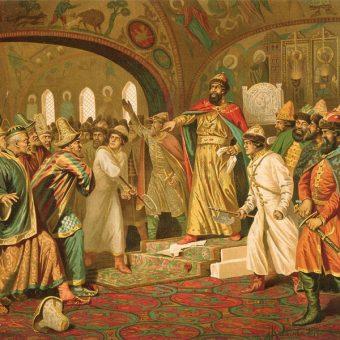 Iwan III demonstracyjnie depcze gramotę od chana Achmata (fot. Iwan III demonstracyjnie depcze gramotę od chana Achmata (fot. domena publiczna))