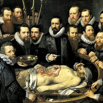 Michiel Jansz van Mierevelt, Lekcja anatomii doktora Willema van der Meera. Anatomowie usilnie poszukiwali informacji, jak powstaje człowiek, jednak bez mikroskopu mogli tylko teoretyzować (fot. domena publiczna)