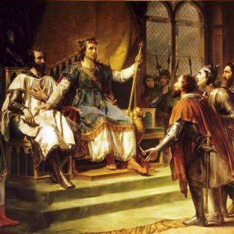 Król Henryk III podczas mediacji z baronami.