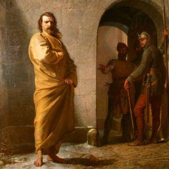 Henryk IV w stroju pokutnym w Canossie.