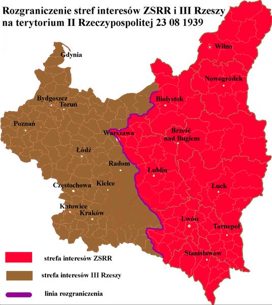 Podział stref wpływów ZSRR i III Rzeszy na terytorium II Rzeczypospolitej według tajnego protokołu.