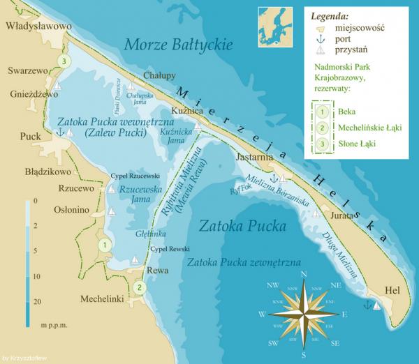 Mapa Zatoki Puckiej z zaznaczonym Cyplem Rzucewskim.