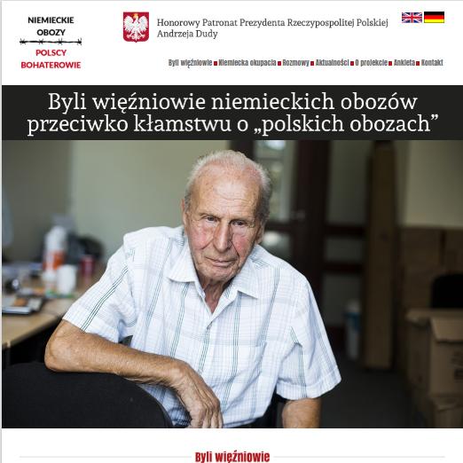 """Projekt """"Niemieckie obozy, polscy bohaterowie. Jak było naprawdę?"""" ruszył w 2016 roku. Teraz MSZ postanowiło go wznowić (na zdj. strona główna projektu)."""