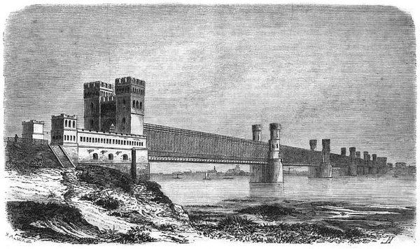 Ilustracja z 1858 roku ukazująca ówczesny wygląd Mostu Tczewskiego.