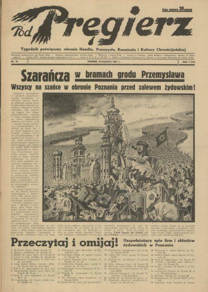 """Do walki z """"międzynarodowym żydostwem"""" nawoływało m.in. antysemickie pismo """"Pod Pręgierz""""."""