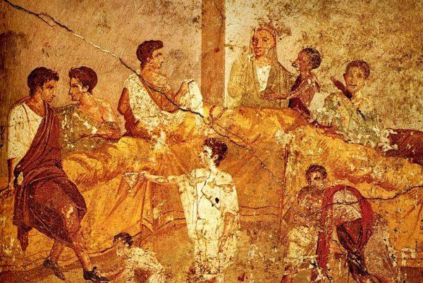 Uczta w starożytnych Pompejach.