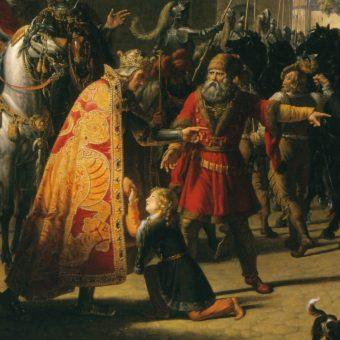Rudolf I Habsburg z synem Przemysła Ottokara II, Wacławem.