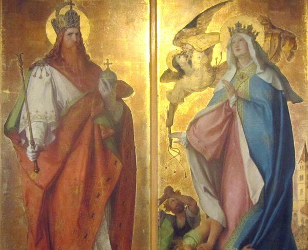 Karol Wielki i Hildegarda, jedna z jego żon.