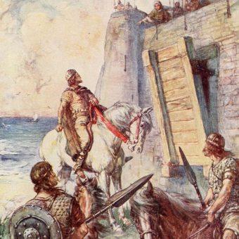 Makbet u wrót fortu Macduff.