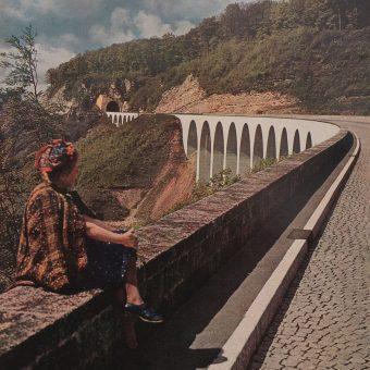 Wiadukt autostradowy w niemieckich Alpach, zdjęcie z 1942 roku.