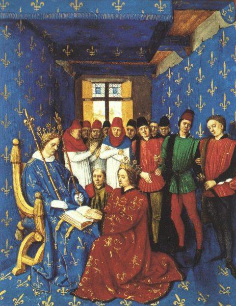 Filip IV (siedzi na tronie) domagał się, aby templariusze zostali poddani torturom.
