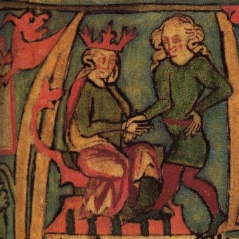 Harald Pięknowłosy symbolicznie przejmuje z rąk ojca władzę, miniatura z Flateyjarbók, XVI wiek (fot. domena publiczna)