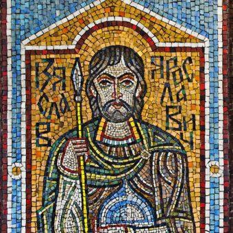 `Izasław Jarosławowicz na mozaice (fot. domena publiczna)