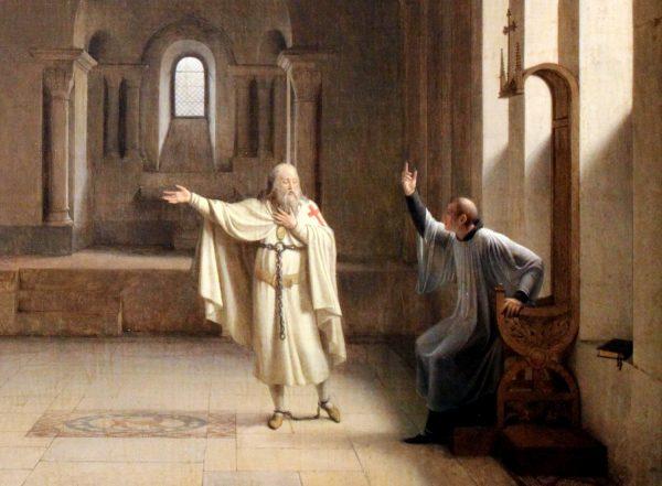 Wielki mistrz templariuszy Jakub de Molay przyznał się, że wstępując do zakonu wyrzekł się Chrystusa.