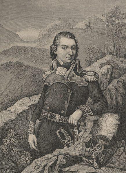 Jan Henryk Dąbrowski w wieku młodzieńczym, jako porucznik ułanów saskich, imienia księcia Alberta.