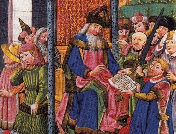 Karol IV jako cesarz w otoczeniu książąt.