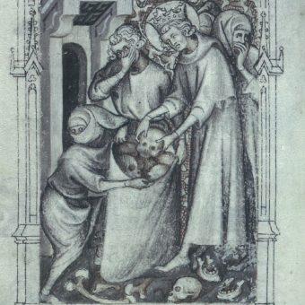 Ludwik IX grzebiący rozkładające się szczątki krzyżowców (fot. domena publiczna)