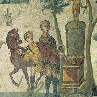 Starożytni Rzymianie często jadali poza domem (na fresku uczta podczas polowania).