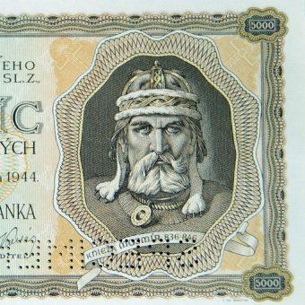 Wizerunek Mojmira I na banknocie.