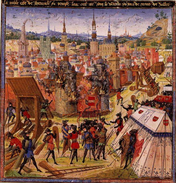 Średniowieczne przedstawienie zdobycia Jerozolimy przez krzyżowców.
