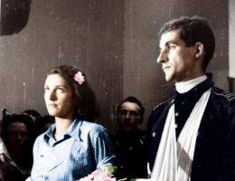 Wiele par decydowało się na ślub jeszcze w trakcie walk. Na zdjęciu Alicja Treutler i Bolesław Biega.