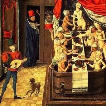 W średniowieczu zbyt częste kąpiele uznawano za oznakę bezbożności. Co nie przeszkadzało ludziom w przesiadywaniu w łaźniach.