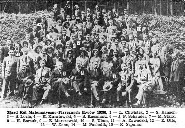 Matematycy z lwowskiej szkoły matematycznej. Na zdjęciu widoczni są m.in. Stefan Banach i Stanisław Ulam.