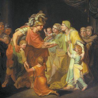 Światosław spotyka się z rodziną w Kijowie po powrocie z bitwy.