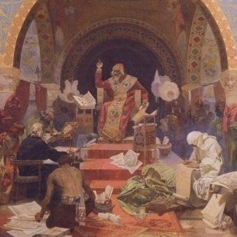 Wizerunek Symeona autorstwa Alfonsa Muchy.