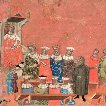 Świętopełk w stroju mnicha przed królem wschodniofrankijskim Arnulfem i jego dworem.