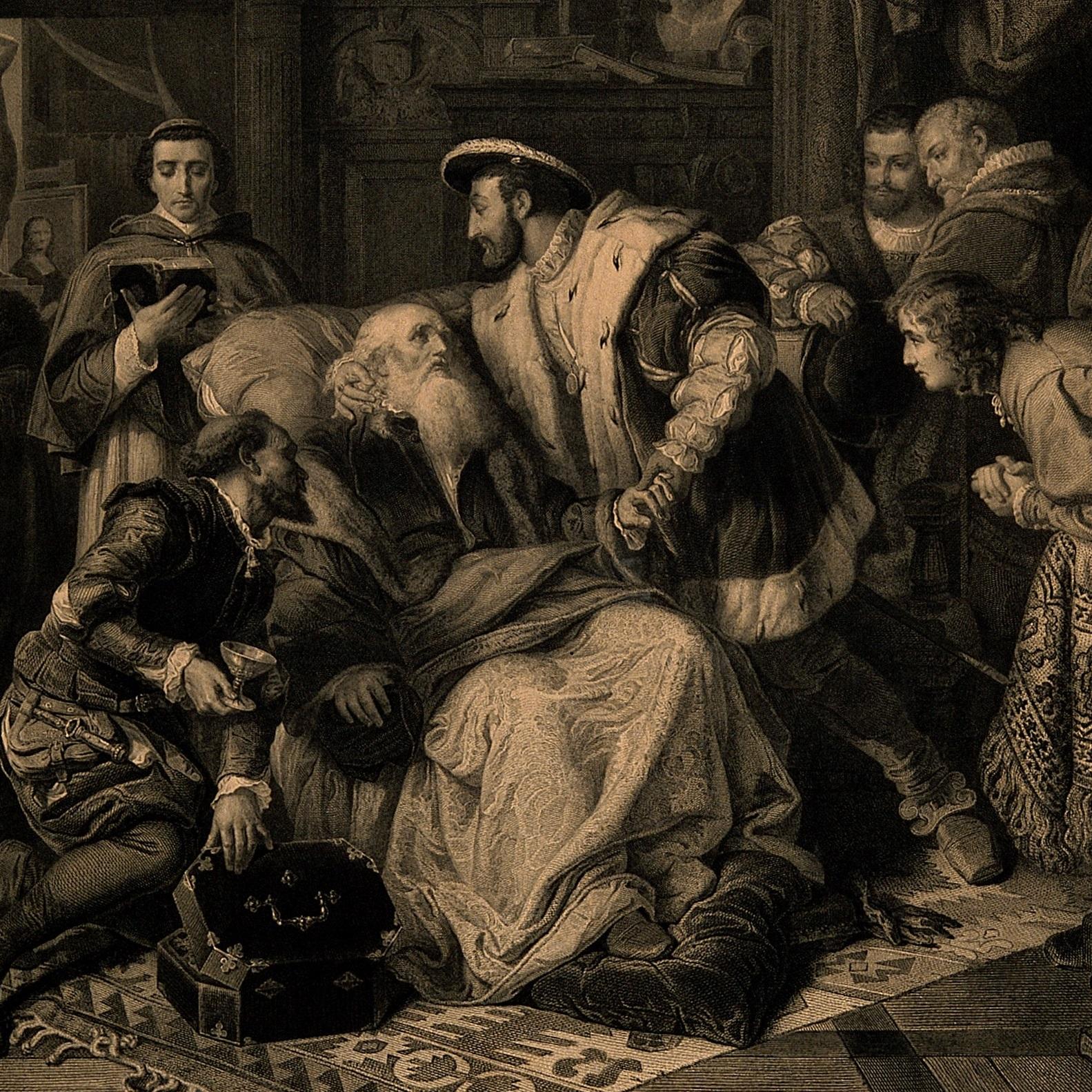 Leonardo da Vinci nie pozostawił po sobie potomstwa (na ilustracji: genialny wynalazca na łożu śmierci).