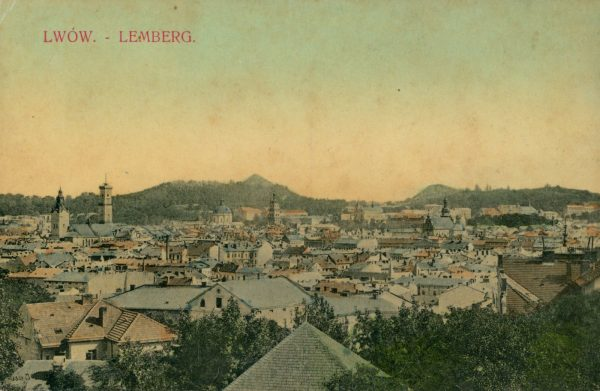 Panorama Lwowa na pocztówce z początku XX wieku.