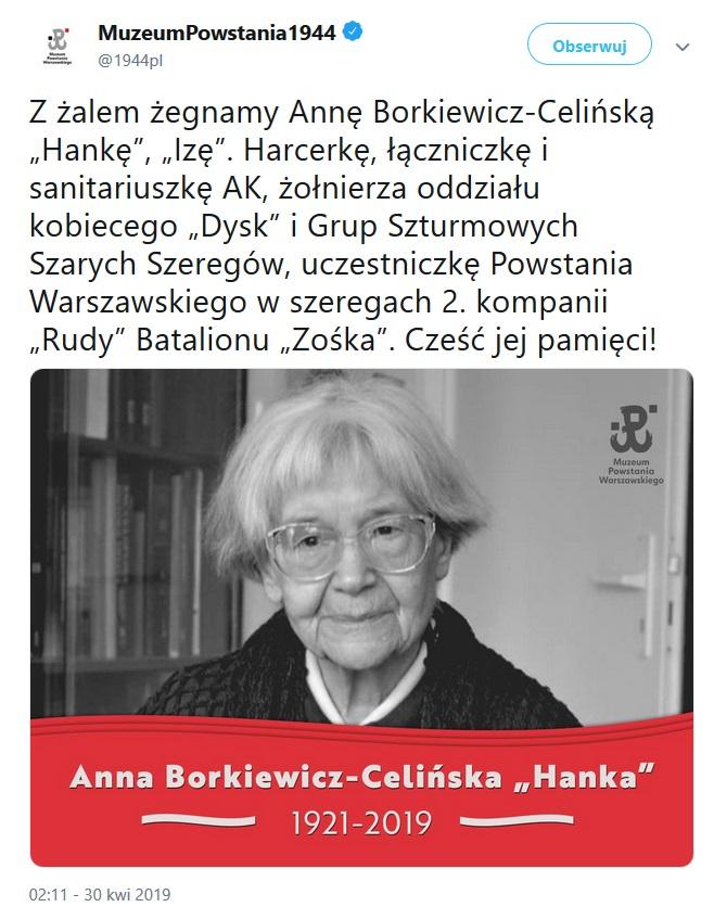 Tweet Muzeum Powstania Warszawskiego informujący o śmierci uczestniczki powstania.
