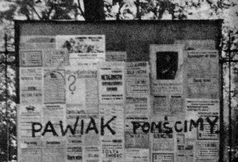 """Napis wykonany przez harcerzy z organizacji """"Wawer"""" na tablicy ogłoszeniowej przy ul. Brackiej."""
