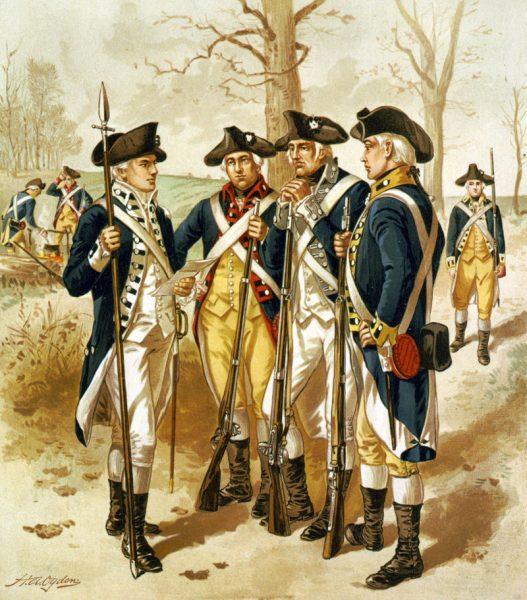 Deborah służyła w piechocie Armii Kontynentalnej. Zapewne nosiła podobny strój, jak mężczyźni na ilustracji.
