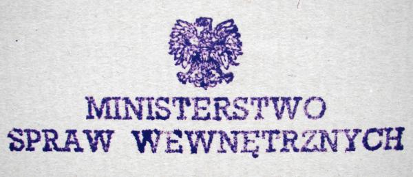 Pieczęć peerelowskiego Ministerstwa Spraw Wewnętrznych
