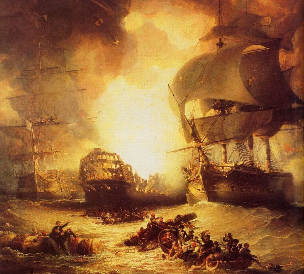 Eksplozja francuskiego okrętu flagowego Orient w bitwie pod Abukirem