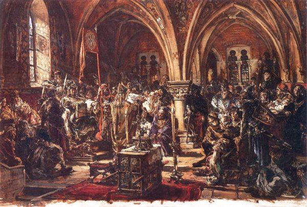 Podczas zjazdu w Łęczycy Kazimierz Sprawiedliwy zrzekł się części uprawnień na rzecz duchowieństwa.