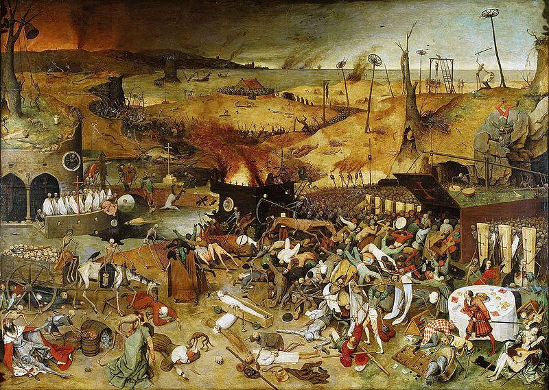 """""""Triumf śmierci"""" (1562) Pietera Bruegla, odzwierciedlający powszechny w społeczeństwie wstrząs i przerażenie, wywołane czarną śmiercią."""