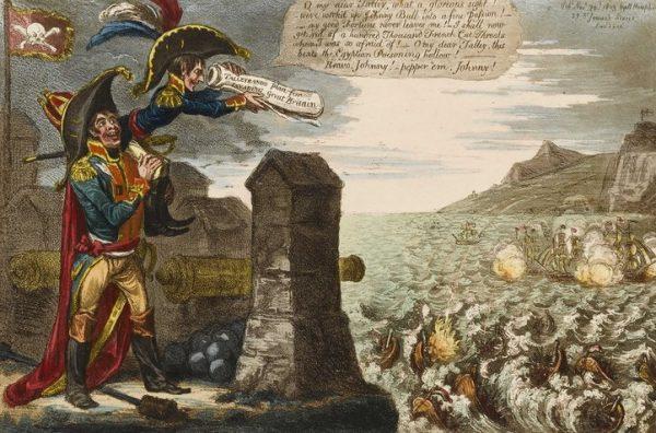 Lęk przed planami Napoleona Anglicy próbowali pokonać śmiechem.
