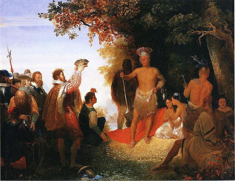 """W zamian za """"koronację"""" Powhatan podarował Johnowi Smithowi swój płaszcz"""
