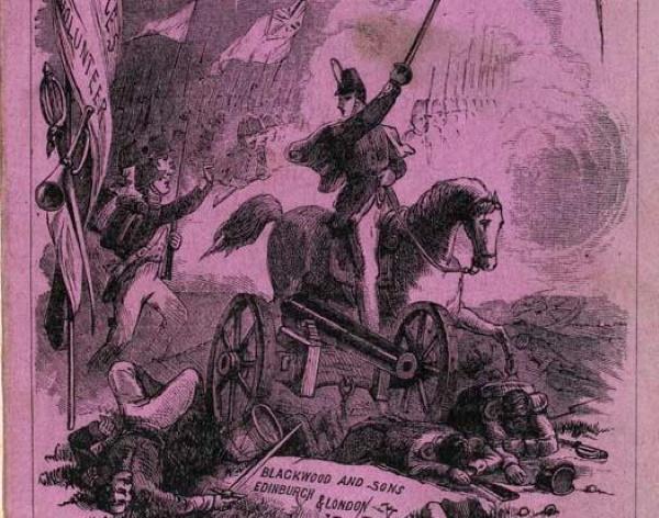 """Fragment okładki """"The Battle of Dorking"""" Chesneya z 1871 roku."""